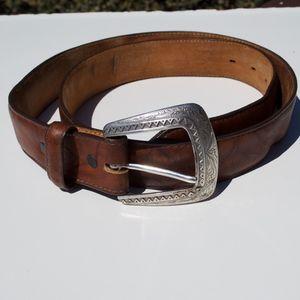Justin Brown Leather Western Cowboy Belt 38